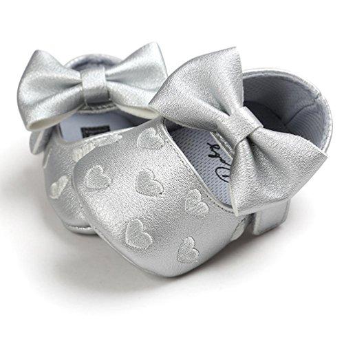 Hunpta Baby Mädchen Bowknot Leater Schuhe Sneaker rutschfest weiche Sohle Toddlerr (Alter: 0 ~ 6M, Rot) Gray