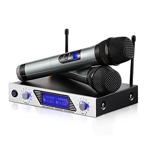 Micrófonos Inalámbricos Karaoke,Equipo Karaoke con Receptor VHF,Dos Micrófono de Mano Micrófono Karaoke Profesioanl Dual Canal para Cantar,Bar,Karaoke,Boda,Fiestas, Reunión,Hogar