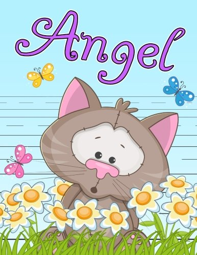 Angel: Personalized Book with Child's Name, Primary Writing Tablet for Kids, 65 Sheets of Practice Paper, 1