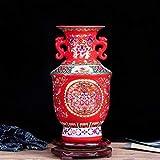 DIAOSUJIA Scultura Moderna,retrò Jingdezhen Rosso Antico Smalto Antica Ceramica Cinese Vaso di Fiori Home Office Decorativi Vasi in Porcellana