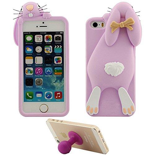 Élégant Coque Housse de Protection pour Apple iPhone 5 5S 5C SE Doux Silicone Case Anti choc Couverture arrière Mignonne Chiot Chien Rouge avec 1 Silicone Kickstand violet