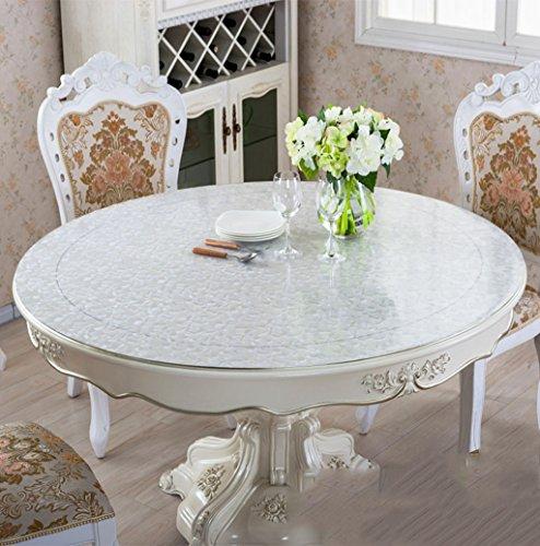 Unbekannt *Küchenwäsche Dickes PVC runde Rose scheuern Tischdecke, weiche Glas Tischmatten Wasserdichte Kristallplatte Couchtisch Tuch Tischdecke 1.5mm (Farbe : Rose Scrub-1.5mm, größe : Round-80cm)