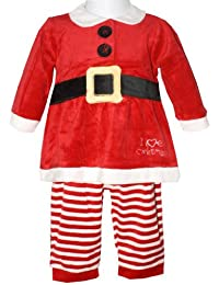 Baby Girl's Red 'I Love Christmas' Two Piece Outfit Comprising Long Sleeved Santa Dress Top With Faux Belt Detail And Striped Leggings - Size Newborn