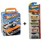 Hotwheels Autosammelkoffer aus Metall 2883 inkl. 4 Hotwheels Autos