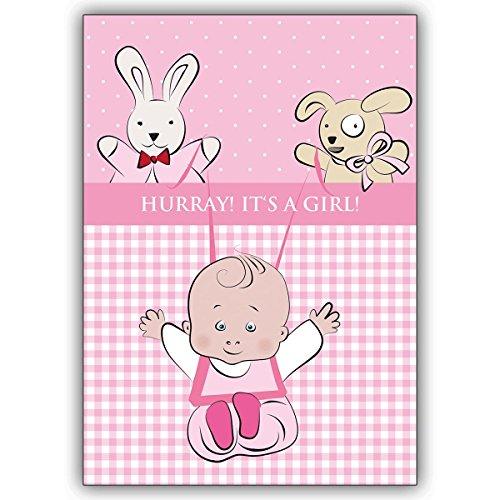 4 Geburtsanzeigen gestalten aussen Baby Mädchen mit Stofftieren, innen ihr Text. Motiv: