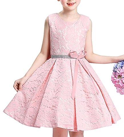 Spitze Blumenmädchenkleid Hochzeitskleid Kindergeburtstags Party KleidRosa100