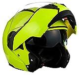 SOXON SF-99 Neon Yellow · Klapp-Helm Helmet Roller-Helm Integral-Helm Motorrad-Helm Sturz-Helm Cruiser Modular-Helm Flip-Up-Helm Scooter-Helm · ECE zertifiziert · zwei Visiere · inkl. Stofftragetasche · Gelb · S (55-56cm)