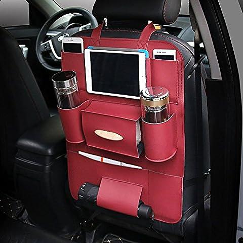 MLOVESIE PU Leather Car Trunk Seat Back Organizer Holder Multi-Pockect Travel Storage Hanging Bag for IPad Bottle Tissue Box Umbrella Baby Toys (Wine Red)