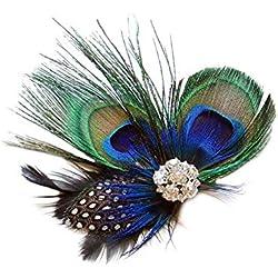 Tocado de plumas de pavo real para mujeres y niñas