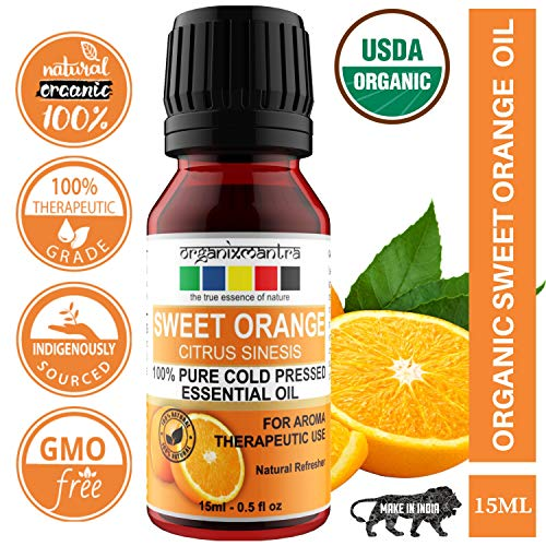 Organix Mantra Sweet Orange Essential Oil - Cold Pressed Pure Aroma, Therapeutic Grade (15Ml)