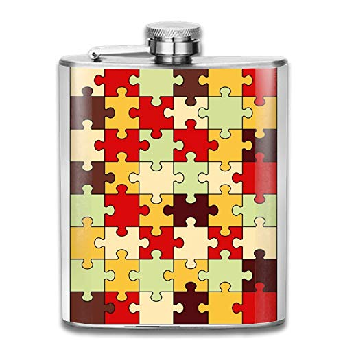 Stainless Steel Flask Puzzle Image Whiskey Flask Vodka Alcohol Flask Hip Flask For Men