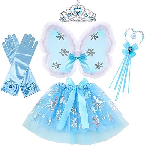 VAMEI 5 Stück Fee Outfits Mädchen Tutu Rock mit Schmetterlingsflügel Fee Flügel Krone Prinzessin ELSA Zubehör Zauberstab Handschuhe Mädchen Geschenk für Halloween Weihnachten Party - Rock-krone