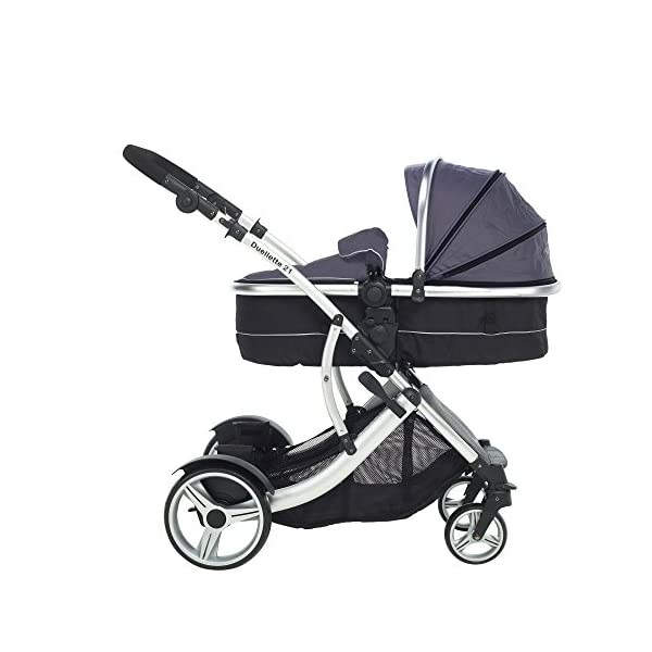 Kids Kargo Duellette Combi Suitable from Newborn. Carrycot Converts to Seat Unit. Dooglebug Silver Kids Kargo Demo video please see link https://www.youtube.com/watch?v=X_tEcnQ8O8E%20 Suitability Newborn - 15kg (approx 3 yrs). Carrycot converts to seat unit incl mattress Carrycot & car seats fit in top or bottom position. Compatible car seats; Kidz Kargo 0+, Britax Babysafe 0+ (no adapters needed) or Maxi Cosi adaptors 7
