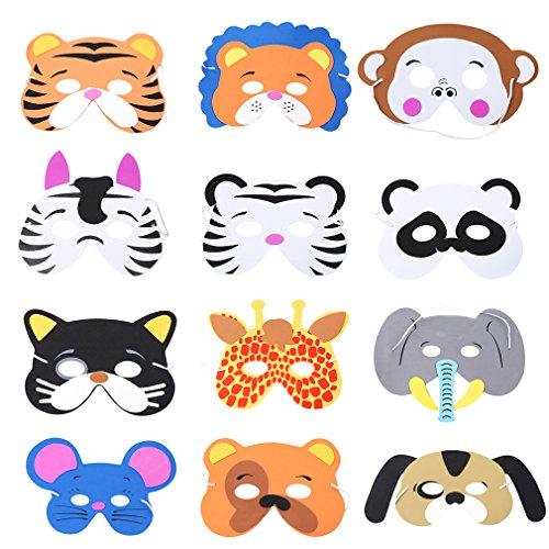 LnLyin Schaumstoff Tier Masken für Geburtstag Partyzubehör verkleiden Kostüm 12verschiedene Masken