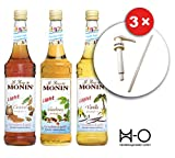 Monin Vanille Light, Haselnuss Light und Caramel Light mit Monin 3 Dosierpumpen (3 x 0.7 l)