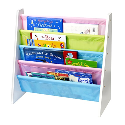 KiddyPlay Childrens Wooden Book Storage Rack/Shelves - Pastel Colours - Kids Bedroom Shelf Furniture