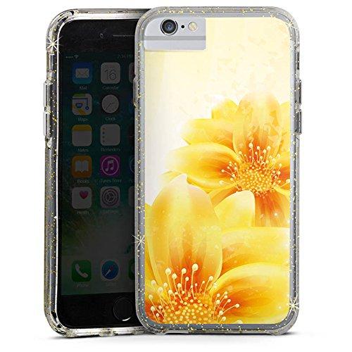 Apple iPhone 6s Bumper Hülle Bumper Case Glitzer Hülle Flowers Blumen Pflanze Bumper Case Glitzer gold