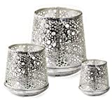 AM-Design | Windlicht Teelichthalter Tisch Deko Tischlicht | Frühling Frühlingsdeko | Metall Silber Shabby (H 10,5 cm D 10 cm) - 2