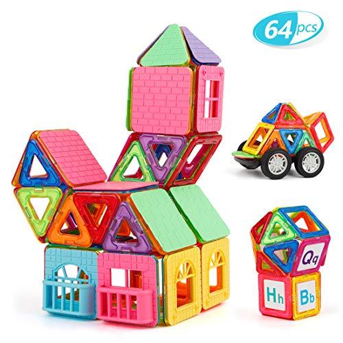 TAOCOCO Magnetische Bausteine Magnetische Bauklötze Set Lernspielzeug für Kinder ab 3 Jahre Konstruktionsbausteine Magnet Spielzeug mit Bestes Geburtstagsgeschenk (64 Stück)