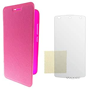 Vulkan Caidea Textured Toughened Rubberized Premium Flip Cover Case for Samsung Galaxy Ace Nxt G313 (Pink) with Screen Guard