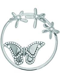 MY iMenso 3D mariposa & flores imaginación insignia plateado circonios 33 mm 33-1137