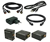 SunshineTronic Digital zu Analog Audio Konverter(DA3) mit USB-Netzteil + 1,5m Premium Toslink Kabel + Cinch Kabel(MS-D1.5)