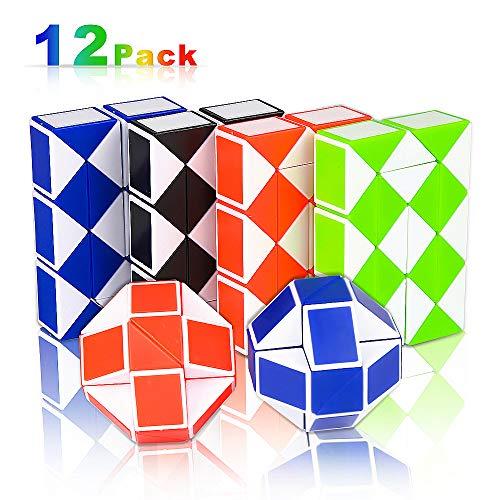 Nasharia 12 Pack 24 Blöcke Mini Schlange Würfel, Magische Schlange Twist Puzzle, Magische Geschwindigkeit Würfel, Mini Puzzle Würfel für Kindergeburtstag Party Mitgebsel -