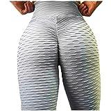 Dorical Damen Hohe Taille Mode Workout Leggings Fitness Sport Gym Jogging Yoga Sporthose (Z009-Grau, X-Large)
