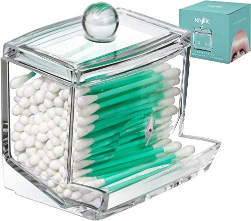 Acrylicase, organizer trasparente per cotton fioc, dischetti di ovatta e altro, per bagno e cosmetici