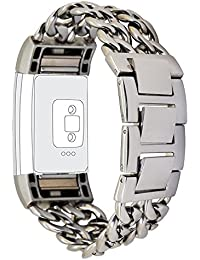 [New release] Fitbit Charge 2Strap, PUGO TOP Premium Stainless Steel Cowboy Style Pulsera Watch Band Strap for Fitbit Charge 2(2017) -Silver