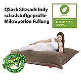 QSack Sitzsack Indy, mit Inlett und schadstoffgefprüfte EPS Toxproof Mikroperlen, 140 x180 cm Indoor Sitzsack XXL, (dunkelsand)