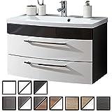 Waschtisch Belum Anthrazit-weiß (Waschbecken mit Waschbeckenunterschrank) Breite ca. 100 cm, für Gäste-WC, Form recht-eckig, hängend, Front leicht geschwungen, 2 Schubladen breit, hochglanz