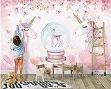 Yosot Neue Mode Persönlichkeit Dekorative Malerei Stereo Aquarell Einhorn 3D Tapeten Home Decor-140Cmx100Cm