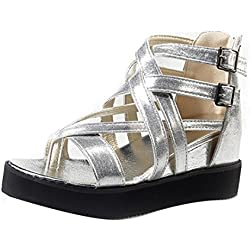 Damen Sommer Sandalen Xinan Peep Toe Low Schuhe Römer Sandalen Flip Flops (36, Silber)