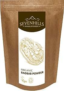 Sevenhills Wholefoods Organic Raw Baobab Powder, Wild-Harvested in Africa, 250g