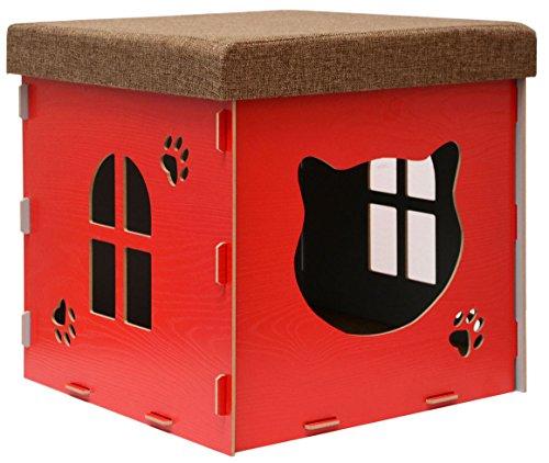 Eyepower Stabile Katzenhöhle 41x41x41cm inkl. Kratzbrett Katzenhaus im Sitzhocker Sitzwürfel Holz Kuschel Höhle Rot -
