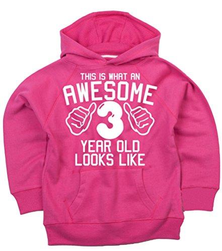 (Diese, was eine Awesome 3Jahr alt aussieht, Fuchsia Pink Mädchen zum 3. Geburtstag Hoodie in Größe 3–4Jahren mit einer weiß Glitterdruck. Edward Sinclair Hoodie)