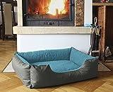 BedDog Hundebett LUPI / Hundesofa aus Cordura & Microfaser-Velours / waschbares Hundebett mit Rand / Hundekissen eckig / für drinnen & draußen / XL / BLUE-ROCK / grau-blau