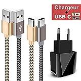 Chargeur Secteur USB 2 Ports Chargeur de Bureau Adaptateur Chargeur Mural USB Universel,Câble USB Type C(2 * 2m) pour Samsung Galaxy S10/S9/S8/A7 A5 2017,Huawei P20/P30/P10/P9,Honor,LG,Sony,Nexus,ect