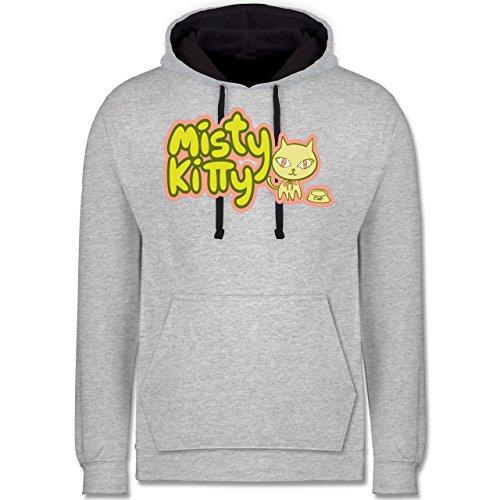 Katzen - Misty Kitty - Kontrast Hoodie Grau meliert/Dunkelblau