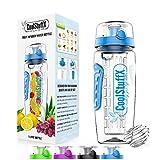 Coolstuffx 3-in-1 Fruit Infuser water bottle + protein shaker. Long Infuser rod +