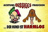 Achtung bissiges frauchen..der hund ist harmlos! schild aus blech tin sign lustig comic