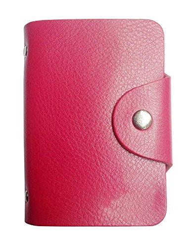 Porte 26 Cartes Crédit Bleue Visite Fidélité En Pochette Femme Homme En Cuir De Véritable (rose)