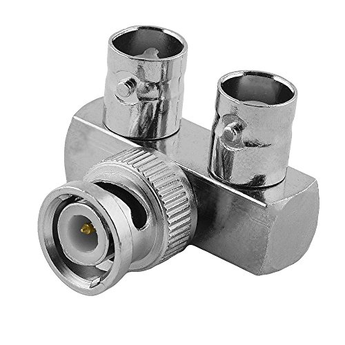 BestPlug Coaxial BNC L Adapter Verteiler Splitter Weiche Verbindungsstück, 1 BNC Stecker Männlich auf 2 BNC Buchse Kupplung Weiblich Vergoldet, Metallausführung (Weibliche Bnc-stecker 2 Auf)