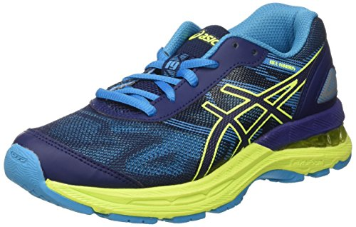 Asics Kinder-Unisex Gel-Nimbus 19 Gs Turnschuhe Blau (Indigo Blue/safety Yellow/island Blue)