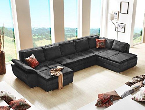 Wohnlandschaft Sarab schwarz 395x210 cm U Form Schlafsofa Couch Sofa Funktionssofa Wohnzimmer Ottomane