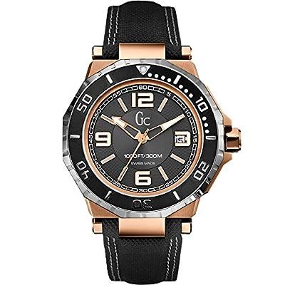 Guess X79002G2S - Reloj con correa de piel para hombre, color negro / gris