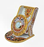 Vivo Y51l Back Cover Best Deals - AnD ArtVilla Traditional Handmade Pinkcity Jaipur Rajasthani Worked Handmade Marble Mobile Stand with Clock with Kundan Work Decorative Unique Antique Gift Purpose Showpiece Item