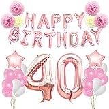KUNGYO Zum 40. Geburtstag Party Dekorationen Kit Rose Gold Happy Birthday Banner-Riesen Zahl 40 Helium Folienballons, Bänder, Papier Pom Blumen, Latex Ballon, Alles Gute Zum Geburtstag für Frauen