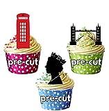 London Party Pack, Kuchen Dekorationen–12Essbar Stand-up Cupcake Topper